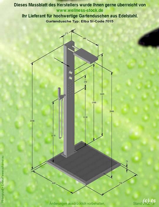 Massblatt gartendusche elba mit kalt und warmwasser for Gartendusche mit warmwasser